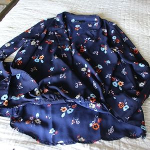 Gibson Navy Floral High Low Blouse